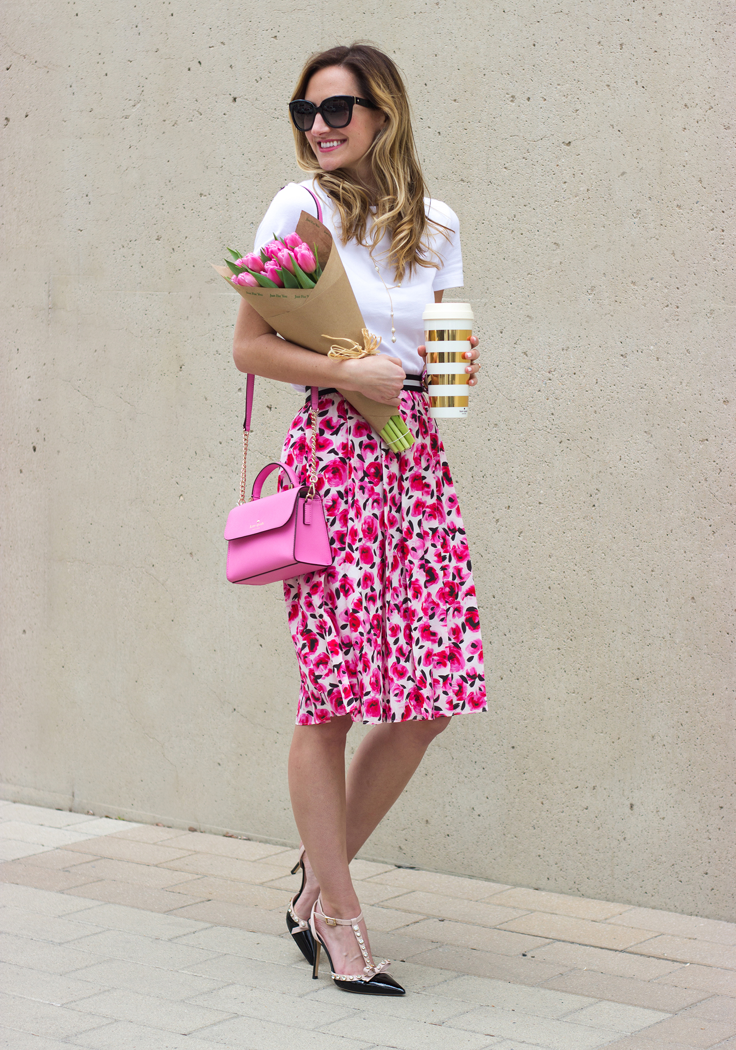 livvyland-blog-olivia-watson-austin-texas-fashion-blogger-kate-spade-broome-street-everyday-tee-white-rose-pleated-skirt-pink-black-spring-outfit-1