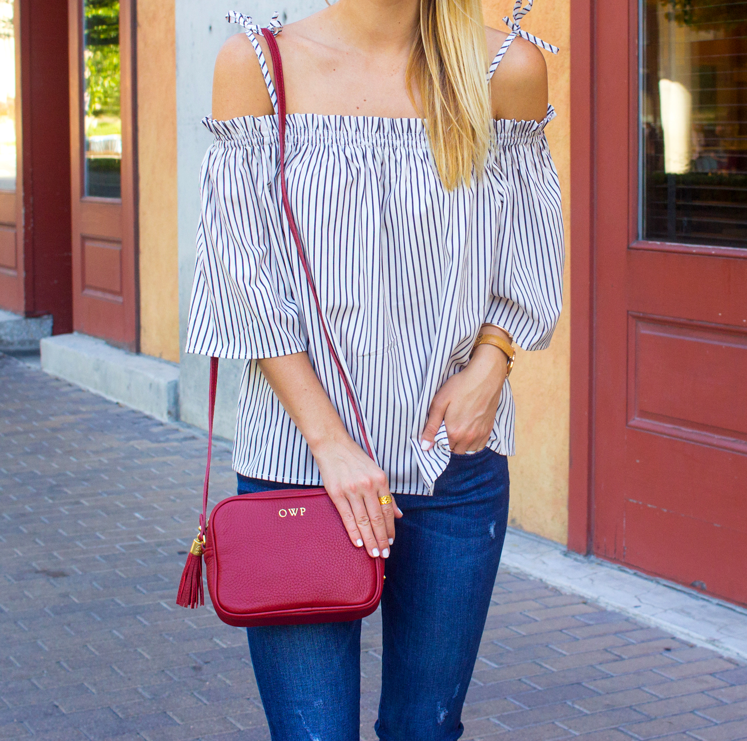 livvyland-blog-goodnight-macaroon-cold-shoulder-striped-top-austin-second-street-district-red-monogram-handbag-dl-1961-emma-jeans-11
