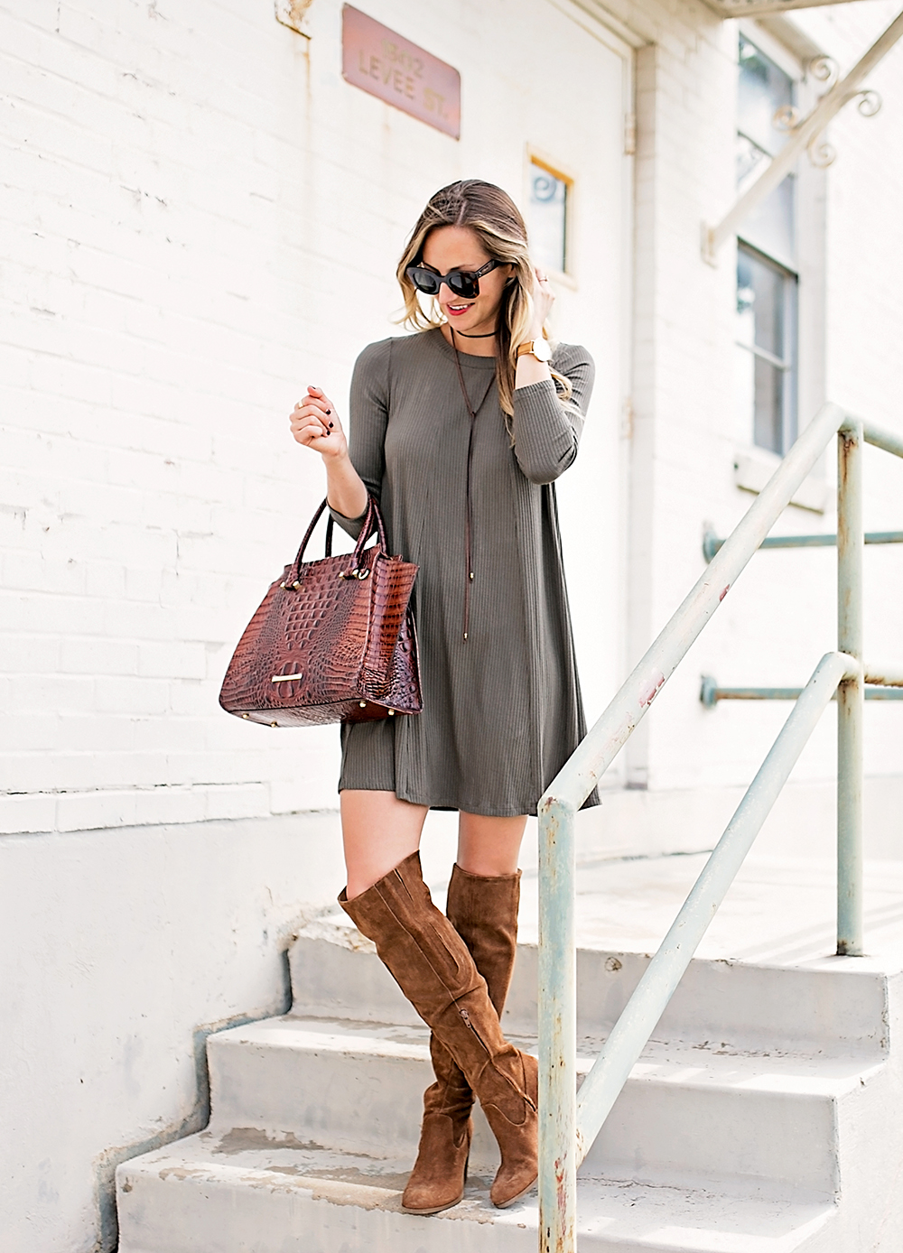 livvyland-blog-olivia-watson-austin-texas-fashion-blogger-fall-outfit-over-the-knee-otk-boots-brahmin-duxbury-handbag-olive-green-shift-dress-celine-marta-mini-sunglasses-2