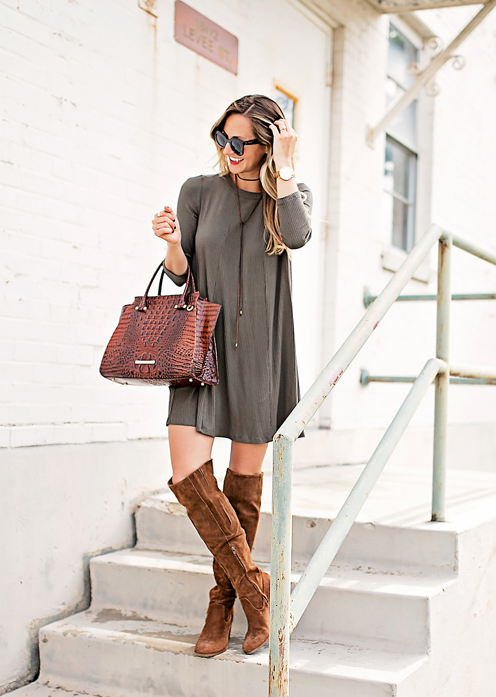 livvyland-blog-olivia-watson-austin-texas-fashion-blogger-fall-outfit-over-the-knee-otk-boots-brahmin-duxbury-handbag-olive-green-shift-dress-celine-marta-mini-sunglasses-5