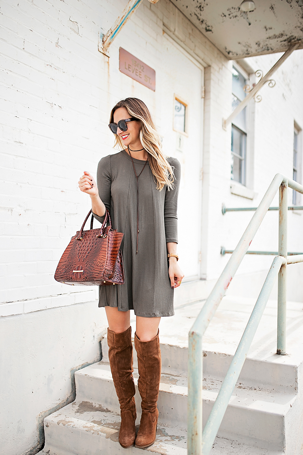 livvyland-blog-olivia-watson-austin-texas-fashion-blogger-fall-outfit-over-the-knee-otk-boots-brahmin-duxbury-handbag-olive-green-shift-dress-celine-marta-mini-sunglasses-6