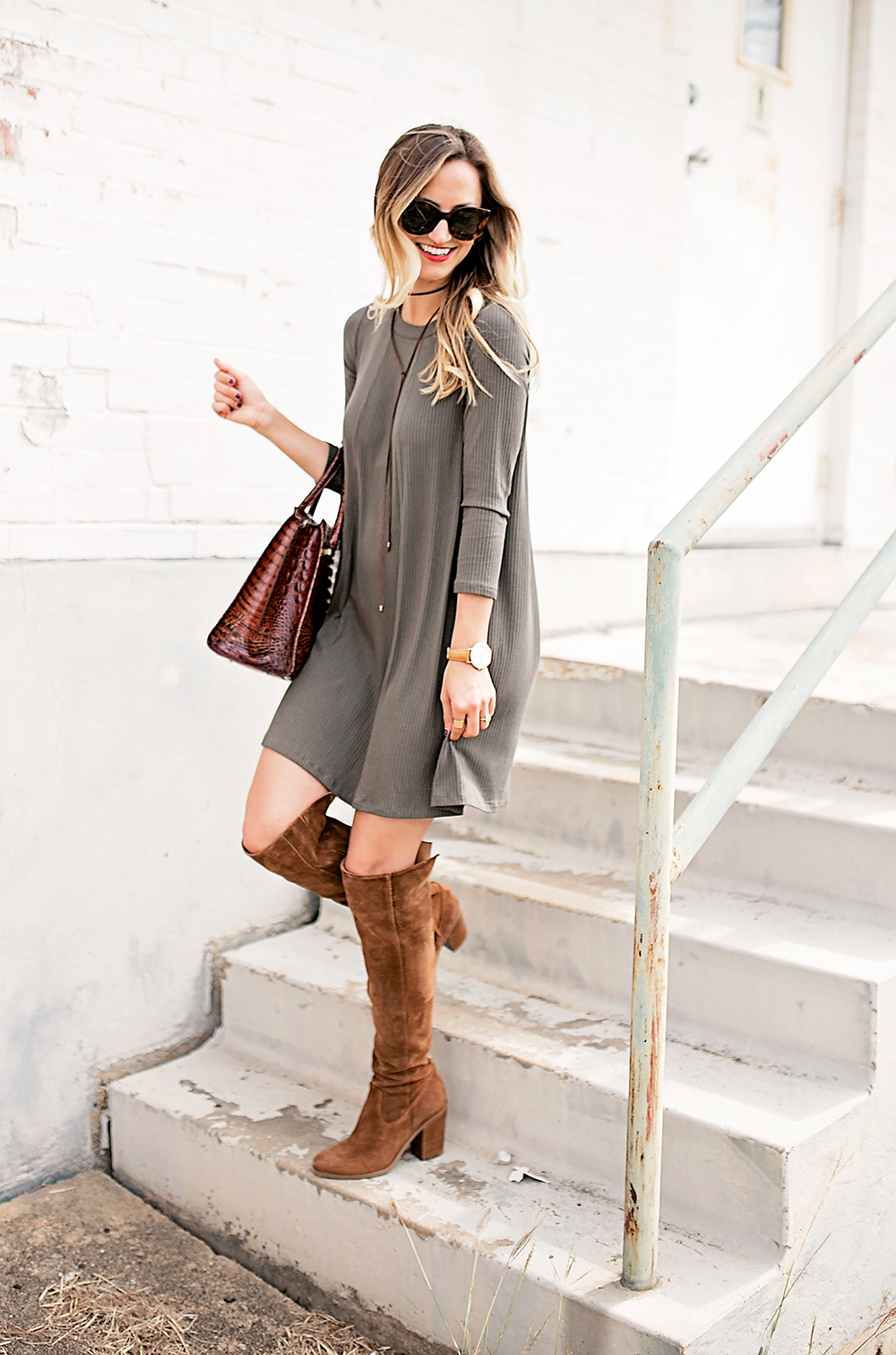 livvyland-blog-olivia-watson-austin-texas-fashion-blogger-fall-outfit-over-the-knee-otk-boots-brahmin-duxbury-handbag-olive-green-shift-dress-celine-marta-mini-sunglasses-9
