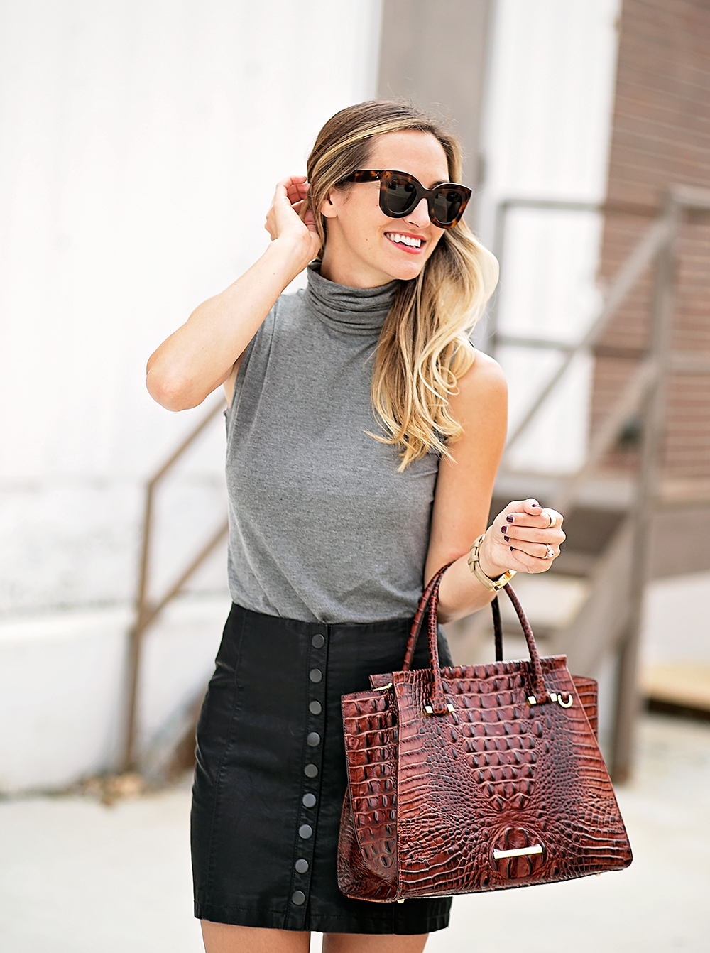 livvyland-blog-olivia-watson-bailey-44-grey-turtleneck-tank-top-free-people-leather-button-up-a-line-mini-skirt-celine-marta-sunglasses-1