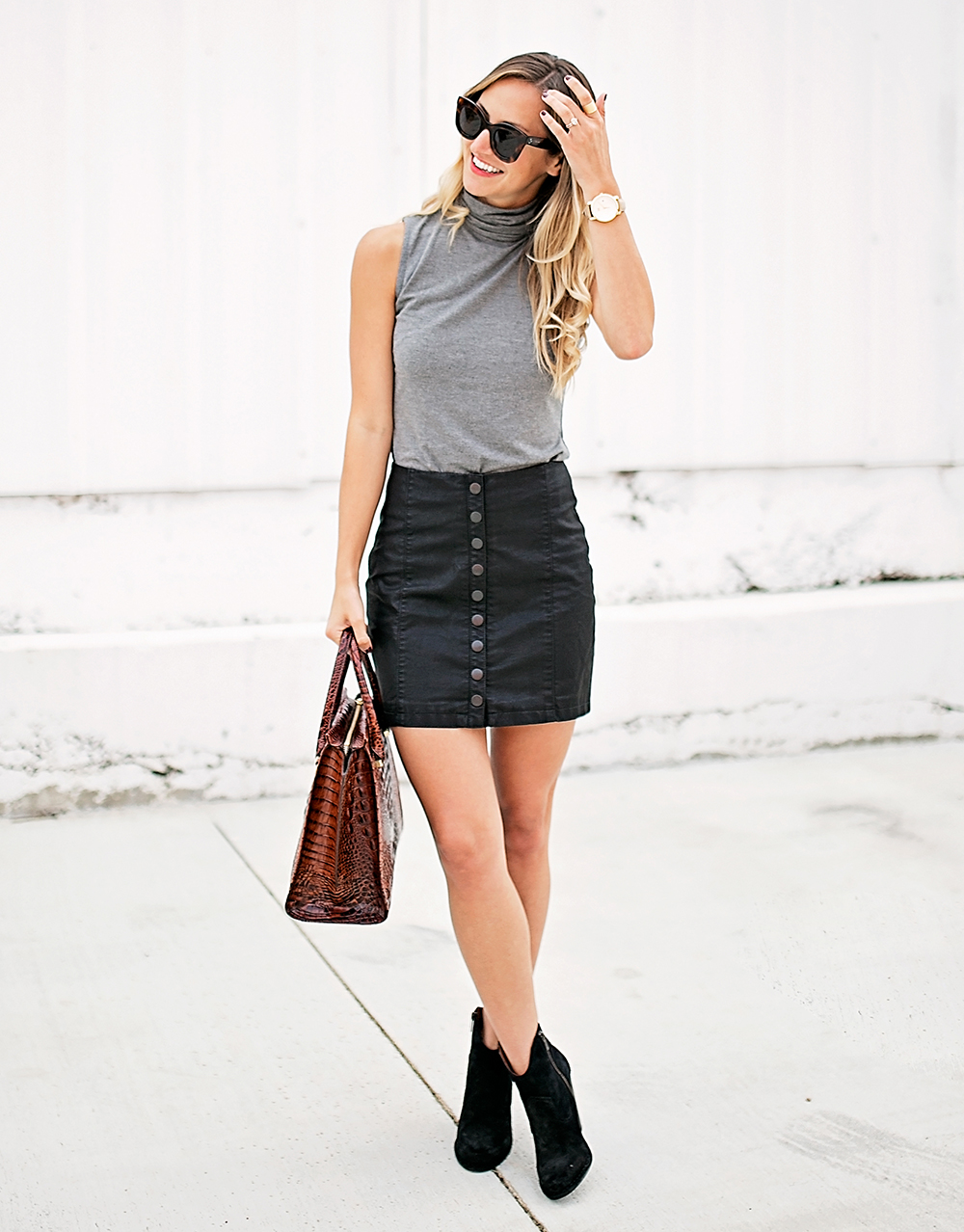livvyland-blog-olivia-watson-bailey-44-grey-turtleneck-tank-top-free-people-leather-button-up-a-line-mini-skirt-celine-marta-sunglasses-3