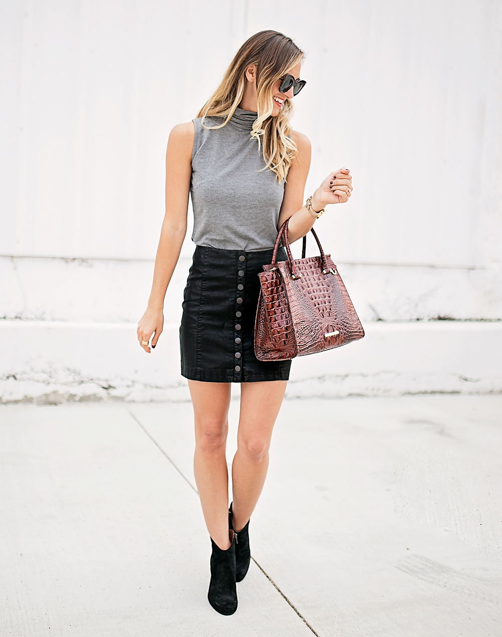 livvyland-blog-olivia-watson-bailey-44-grey-turtleneck-tank-top-free-people-leather-button-up-a-line-mini-skirt-celine-marta-sunglasses-9