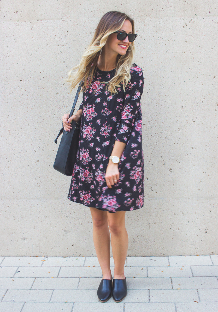 livvyland-blog-olivia-watson-lush-floral-black-shift-dress-brahmin-bucket-bag-ray-ban-wayfarer-sunglasses-madewell-slip-on-mules-3