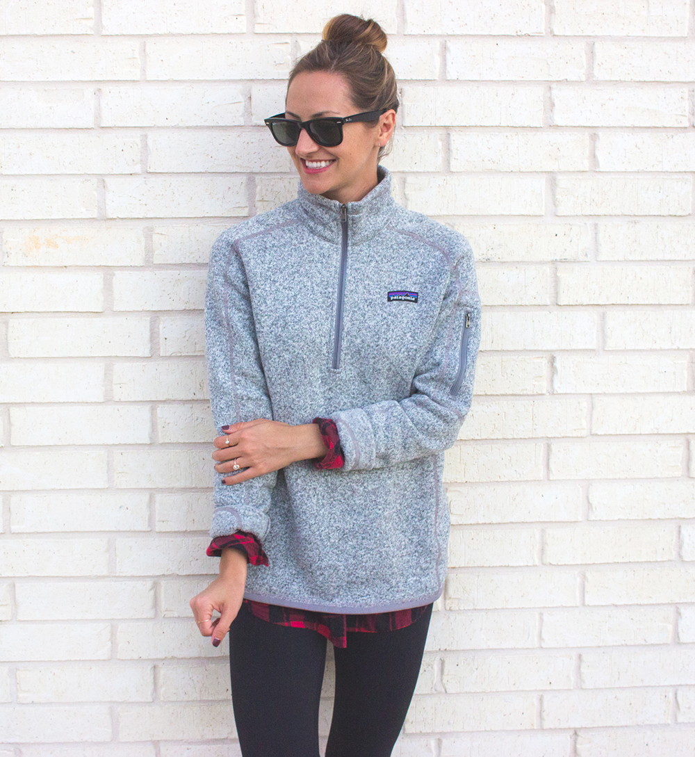 livvyland-blog-olivia-watson-patagonia-fleece-pullover-gray-nordstrom-plaid-layering-zella-live-in-leggings-cozy-exercise-outfit-1