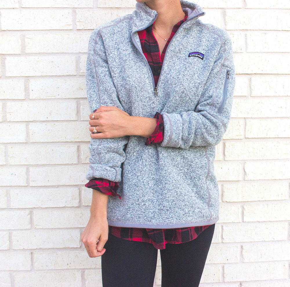 livvyland-blog-olivia-watson-patagonia-fleece-pullover-gray-nordstrom-plaid-layering-zella-live-in-leggings-cozy-exercise-outfit-4