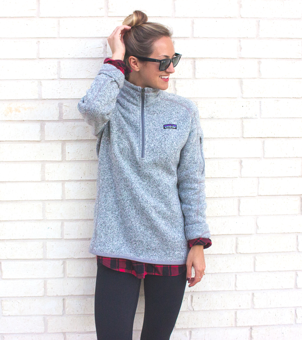livvyland-blog-olivia-watson-patagonia-fleece-pullover-gray-nordstrom-plaid-layering-zella-live-in-leggings-cozy-exercise-outfit-5