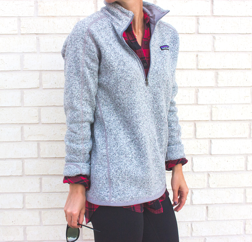 livvyland-blog-olivia-watson-patagonia-fleece-pullover-gray-nordstrom-plaid-layering-zella-live-in-leggings-cozy-exercise-outfit-6