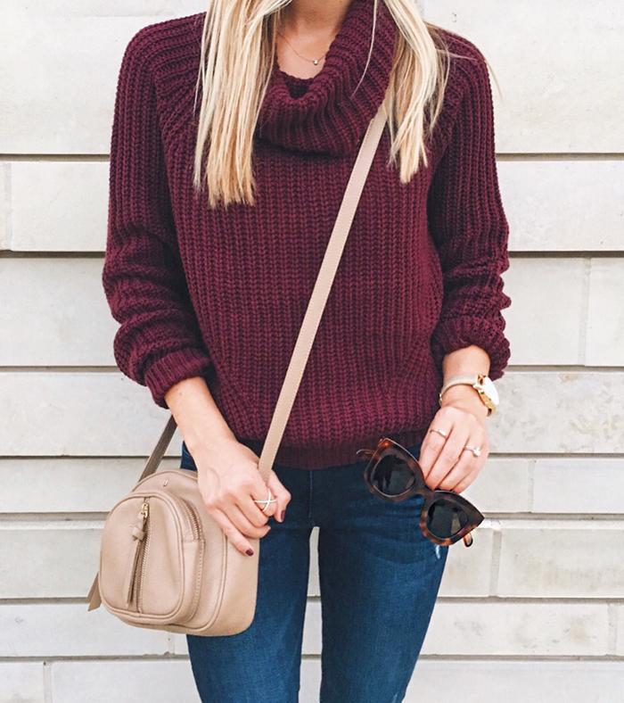 livvyland-blog-olivia-watson-austin-texas-fashion-blogger-fall-outfit-style-wine-burgundy-merlot-turtleneck-sweater-nude-accessories