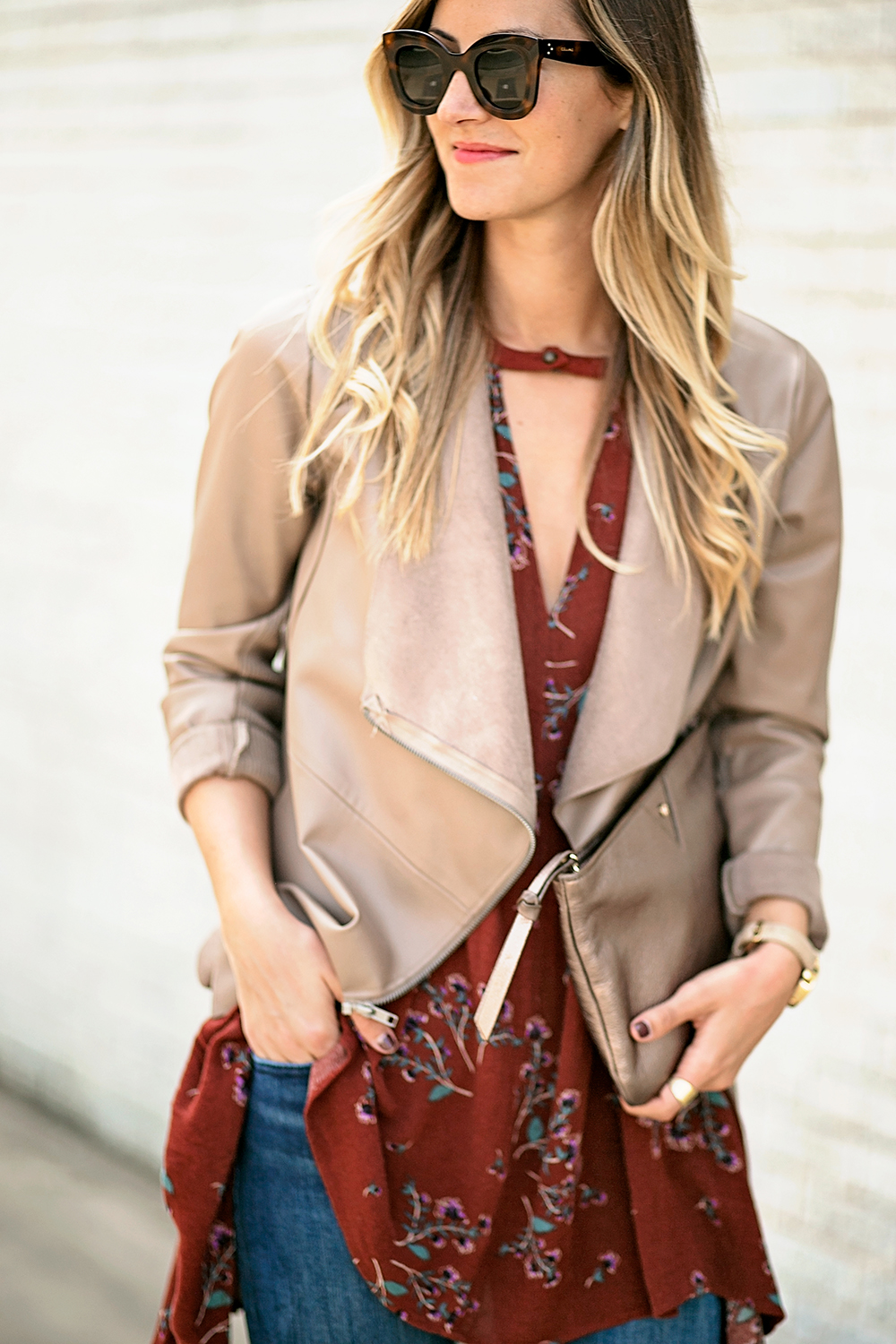 livvyland-blog-olivia-watson-free-people-red-floral-tunic-tank-top-bb-dakota-draped-front-jacket-fall-outfit-idea-austin-texas-fashion-blogger-1