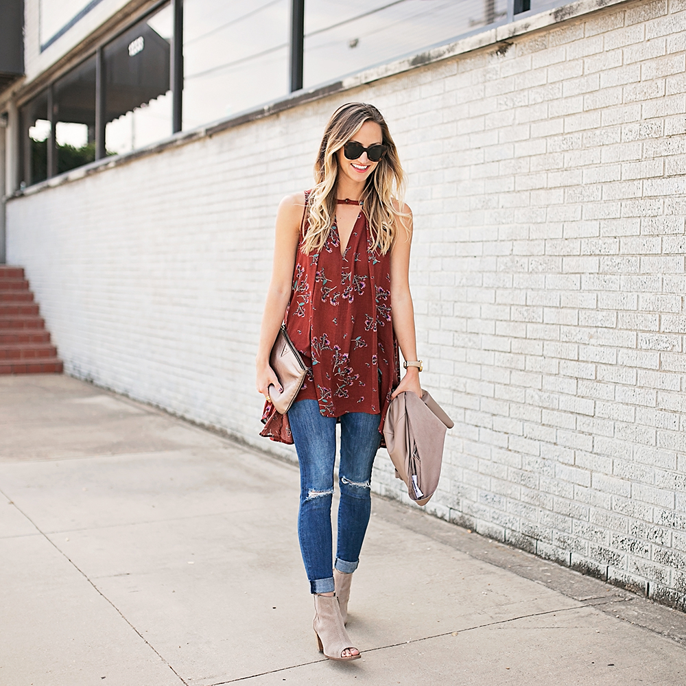 livvyland-blog-olivia-watson-free-people-red-floral-tunic-tank-top-bb-dakota-draped-front-jacket-fall-outfit-idea-austin-texas-fashion-blogger-5