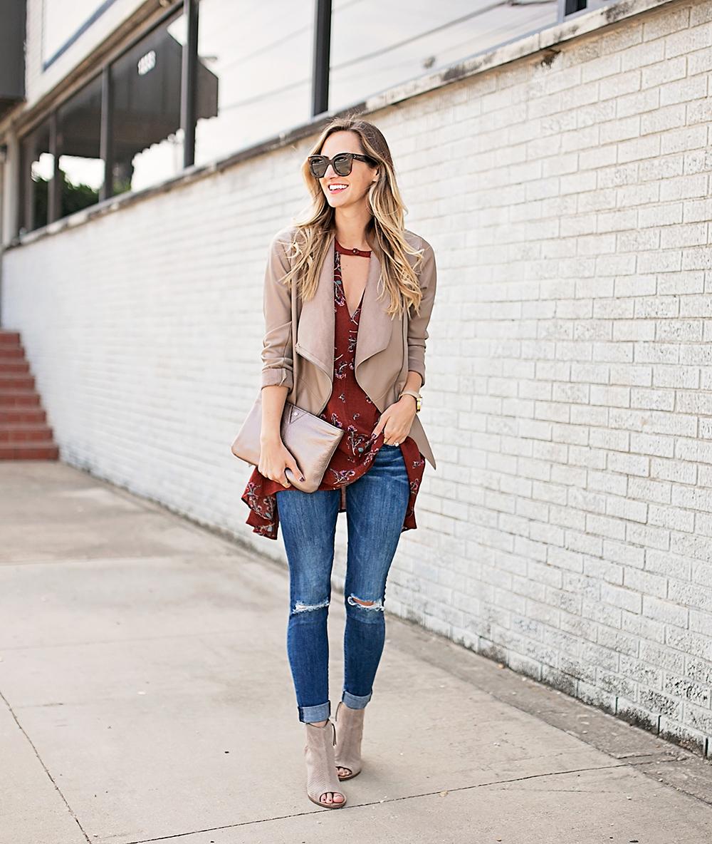 livvyland-blog-olivia-watson-free-people-red-floral-tunic-tank-top-bb-dakota-draped-front-jacket-fall-outfit-idea-austin-texas-fashion-blogger-9