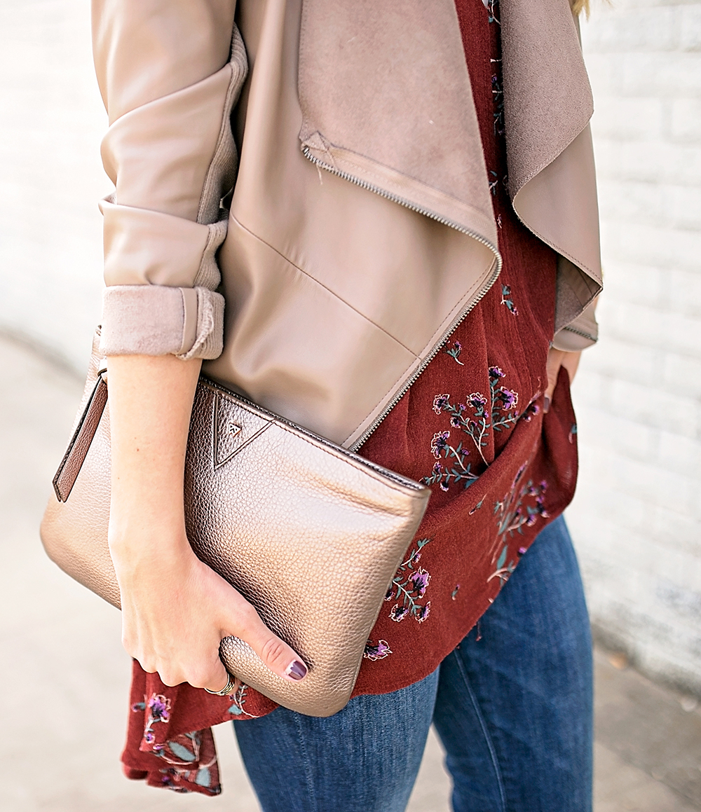 livvyland-blog-olivia-watson-free-people-red-floral-tunic-tank-top-bb-dakota-draped-front-jacket-fall-outfit-idea-austin-texas-fashion-blogger-metallic-clutch