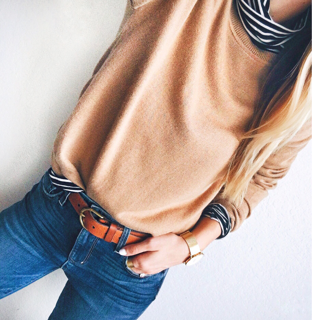 livvyland-blog-olivia-watson-instagram-cyber-monday-roundup-sales-j-crew-stripes-under-camel-sweater-belt-high-waist-jeans