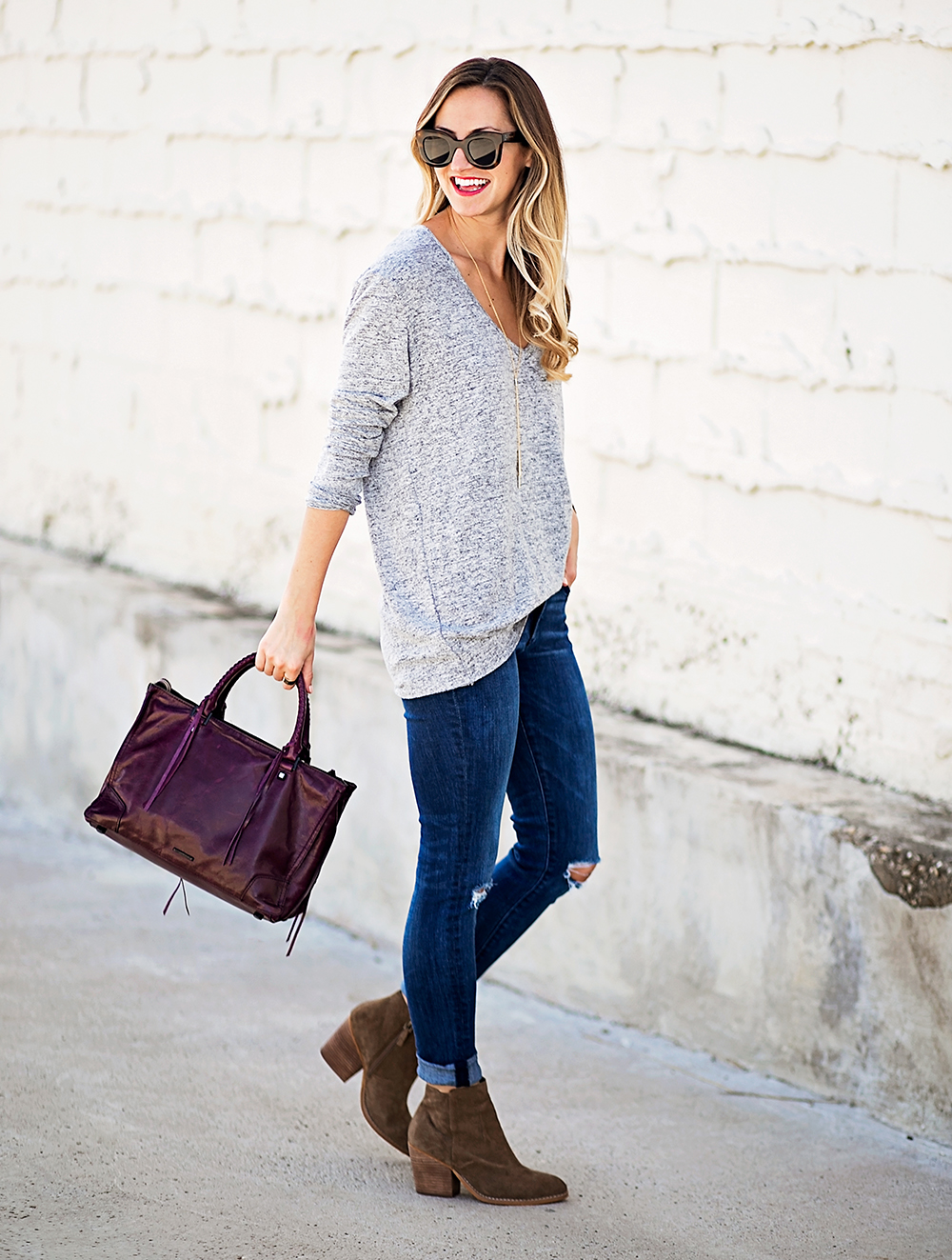 livvyland-blog-olivia-watson-nordstrom-fall-outfit-grey-sweater-booties-madewell-plaid-poncho-rebecca-minkoff-regan-satchel-burgundy-oxblood-1