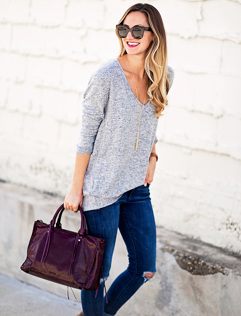 livvyland-blog-olivia-watson-nordstrom-fall-outfit-grey-sweater-booties-madewell-plaid-poncho-rebecca-minkoff-regan-satchel-burgundy-oxblood-11
