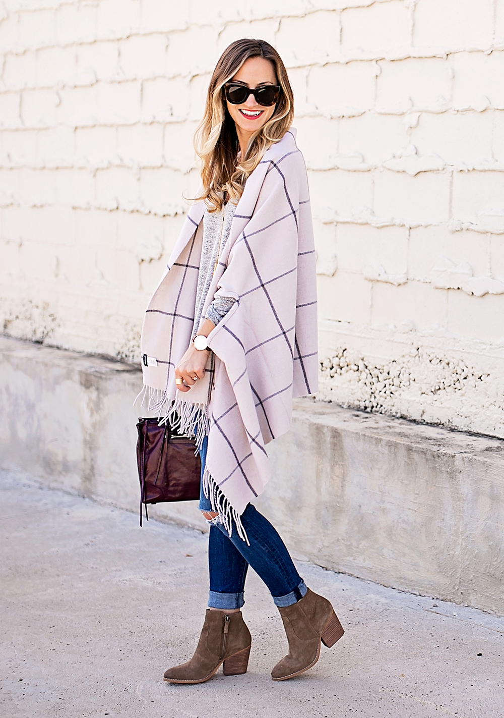 livvyland-blog-olivia-watson-nordstrom-fall-outfit-grey-sweater-booties-madewell-plaid-poncho-rebecca-minkoff-regan-satchel-burgundy-oxblood-13