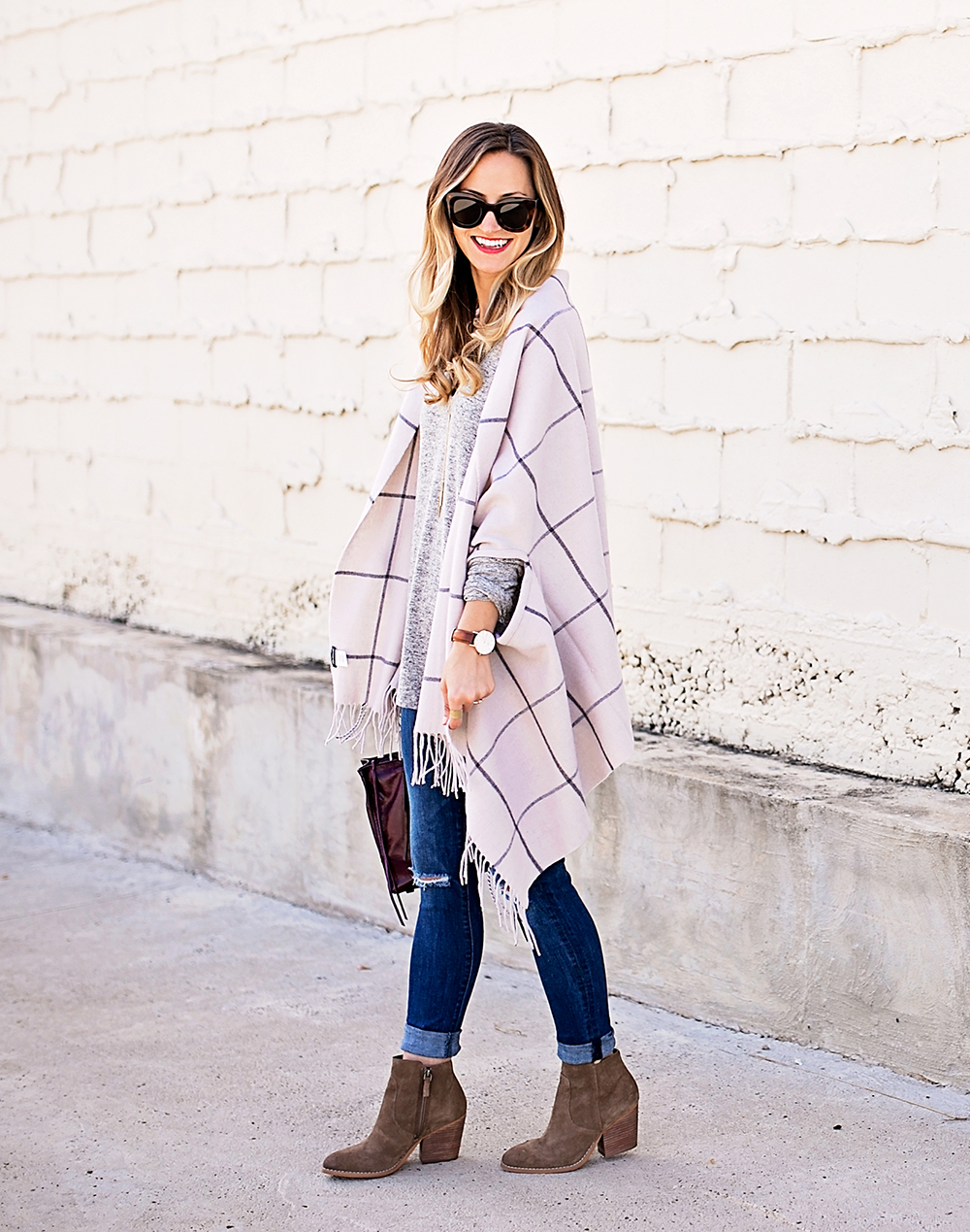 livvyland-blog-olivia-watson-nordstrom-fall-outfit-grey-sweater-booties-madewell-plaid-poncho-rebecca-minkoff-regan-satchel-burgundy-oxblood-5