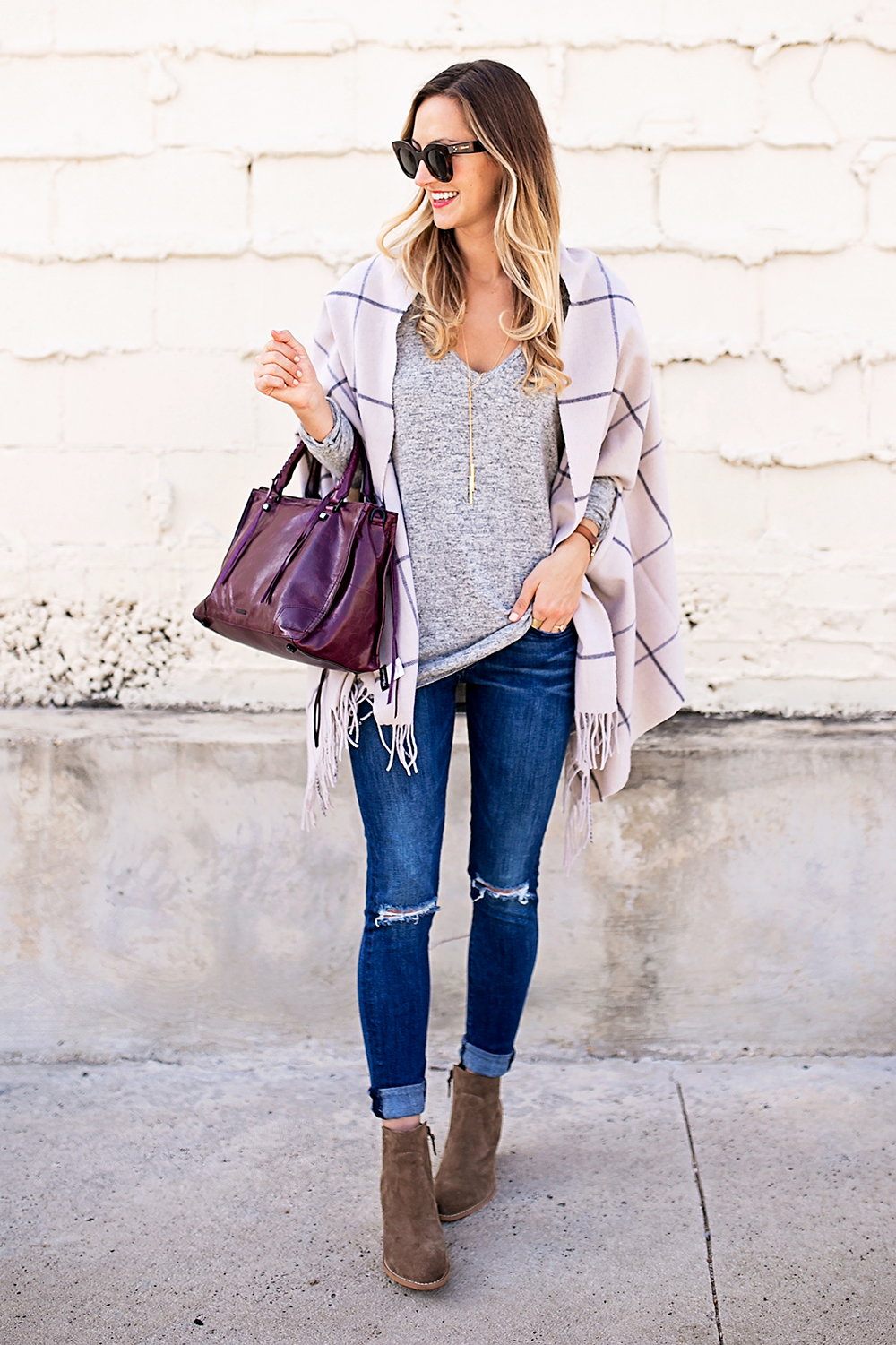 livvyland-blog-olivia-watson-nordstrom-fall-outfit-grey-sweater-booties-madewell-plaid-poncho-rebecca-minkoff-regan-satchel-burgundy-oxblood-7