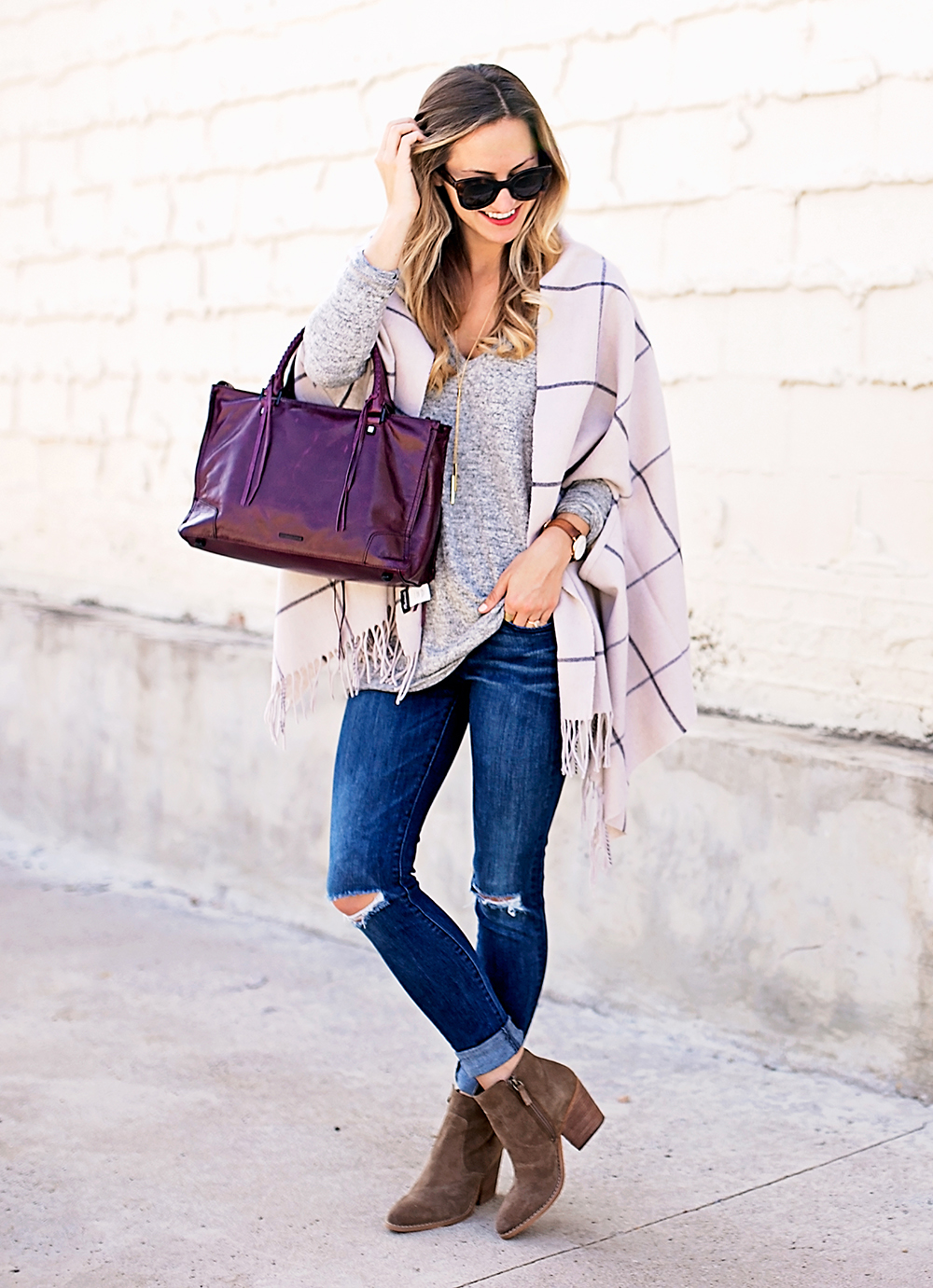 livvyland-blog-olivia-watson-nordstrom-fall-outfit-grey-sweater-booties-madewell-plaid-poncho-rebecca-minkoff-regan-satchel-burgundy-oxblood-9