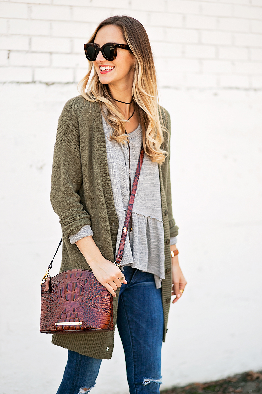livvyland-blog-olivia-watson-peplum-thermal-tee-shirt-olive-cardigan-boho-outfit-casual-taupe-ankle-booties-fall-outfit-idea-celine-baby-marta-sunglasses-1