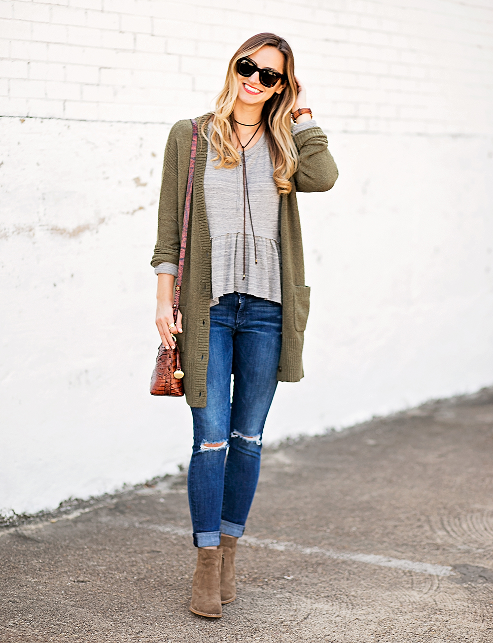livvyland-blog-olivia-watson-peplum-thermal-tee-shirt-olive-cardigan-boho-outfit-casual-taupe-ankle-booties-fall-outfit-idea-celine-baby-marta-sunglasses-2