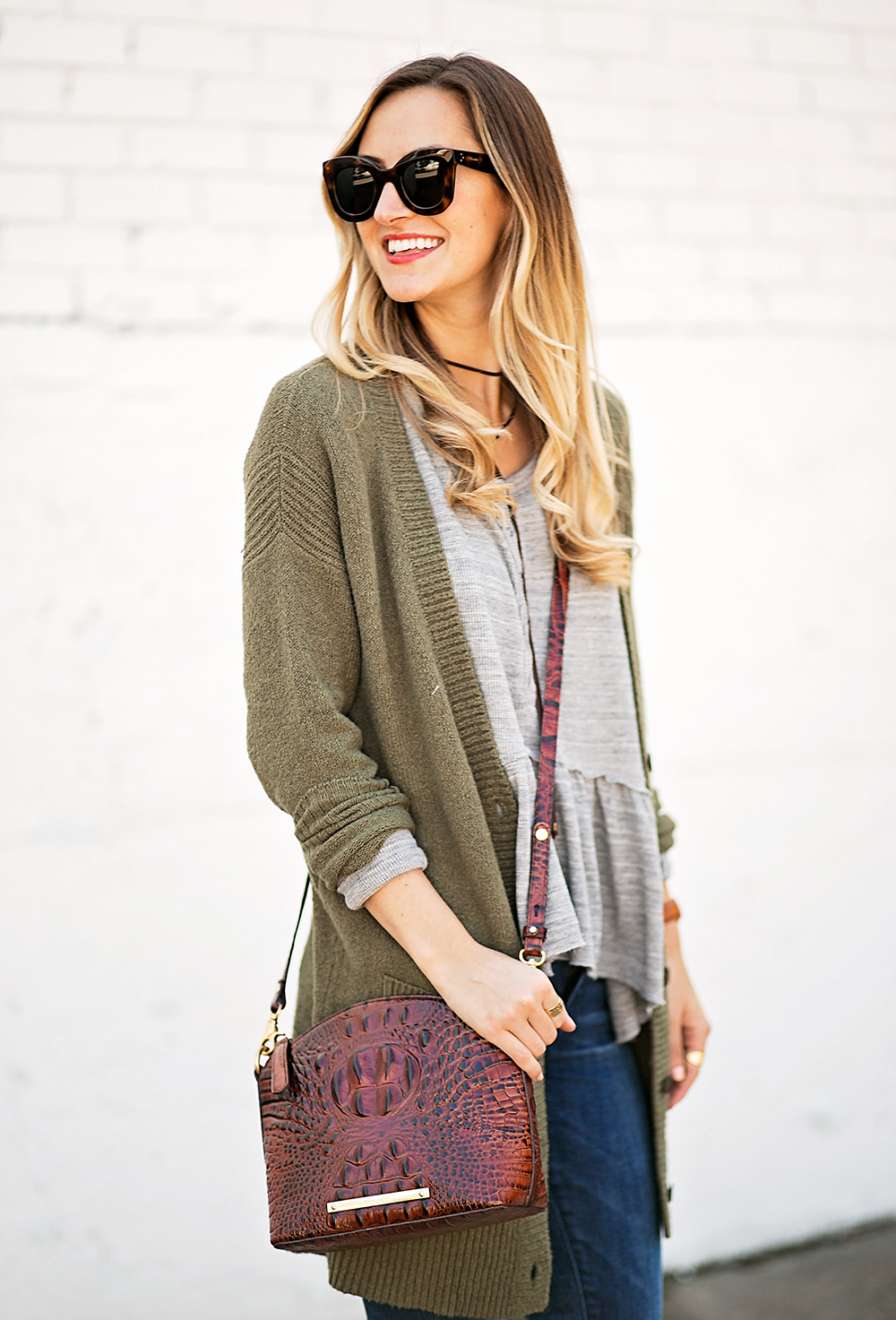 livvyland-blog-olivia-watson-peplum-thermal-tee-shirt-olive-cardigan-boho-outfit-casual-taupe-ankle-booties-fall-outfit-idea-celine-baby-marta-sunglasses-6