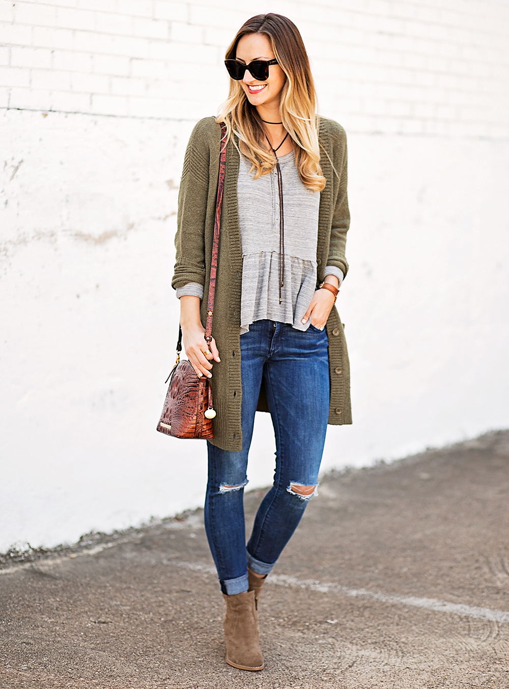 livvyland-blog-olivia-watson-peplum-thermal-tee-shirt-olive-cardigan-boho-outfit-casual-taupe-ankle-booties-fall-outfit-idea-celine-baby-marta-sunglasses-7