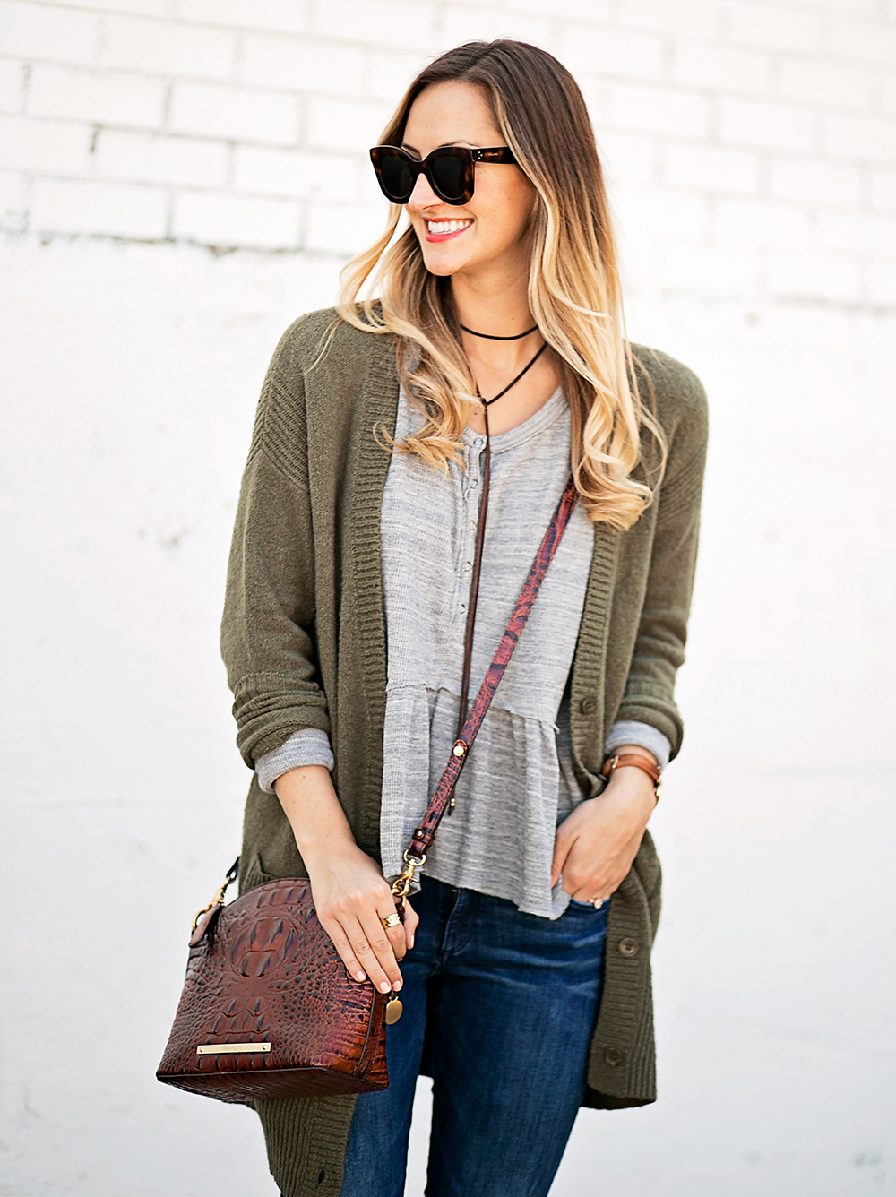 livvyland-blog-olivia-watson-peplum-thermal-tee-shirt-olive-cardigan-boho-outfit-casual-taupe-ankle-booties-fall-outfit-idea-celine-baby-marta-sunglasses-9