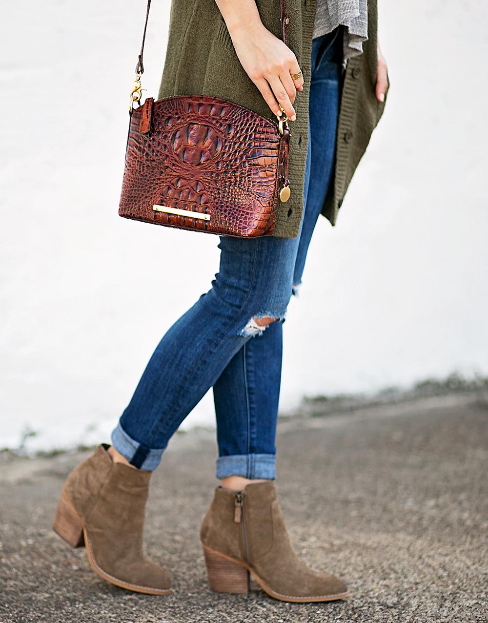 livvyland-blog-olivia-watson-peplum-thermal-tee-shirt-olive-cardigan-boho-outfit-casual-taupe-ankle-booties-fall-outfit-idea-celine-baby-marta-sunglasses-brahmin-mini-duxbury-handbag