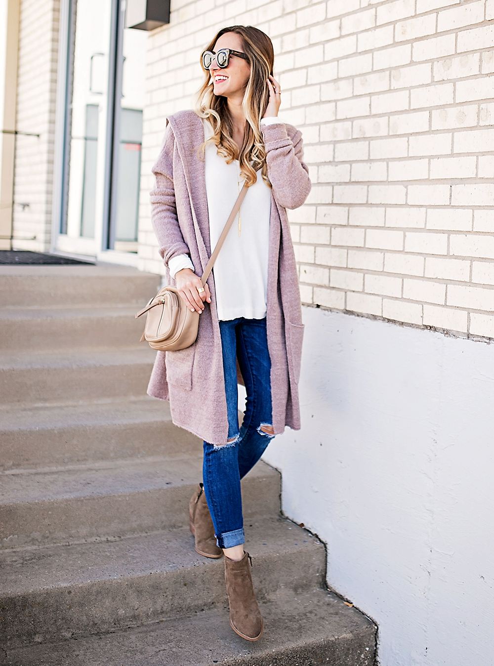 Dusty Pink Cardigan & Ankle Booties - LivvyLand | Austin Fashion ...