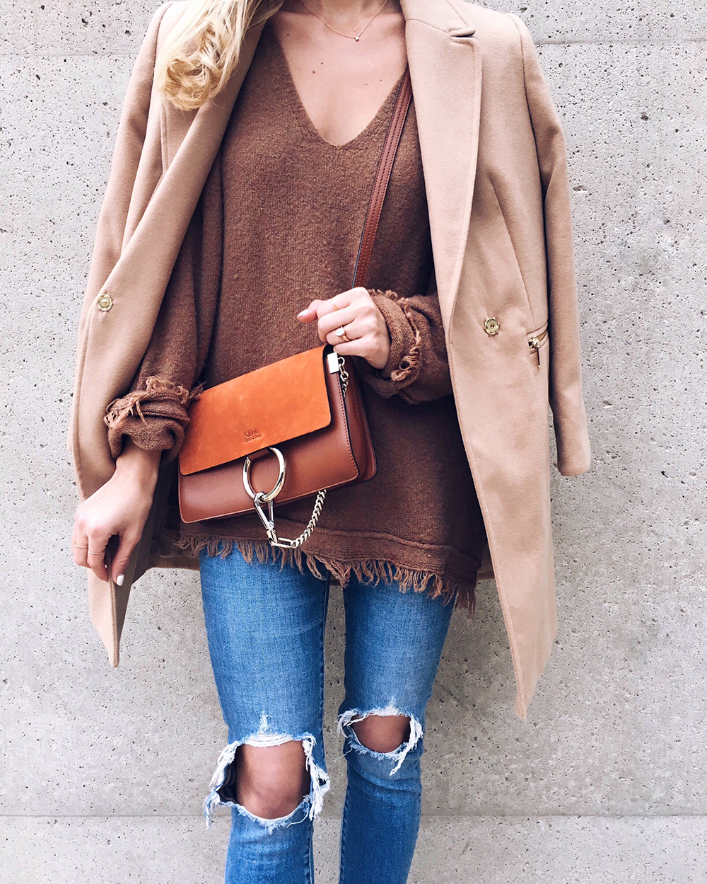 livvyland-blog-olivia-watson-instagram-roundup-december-cozy-brown-camel-coat-free-people-sweater-chloe-faye-mini-tan-handbag