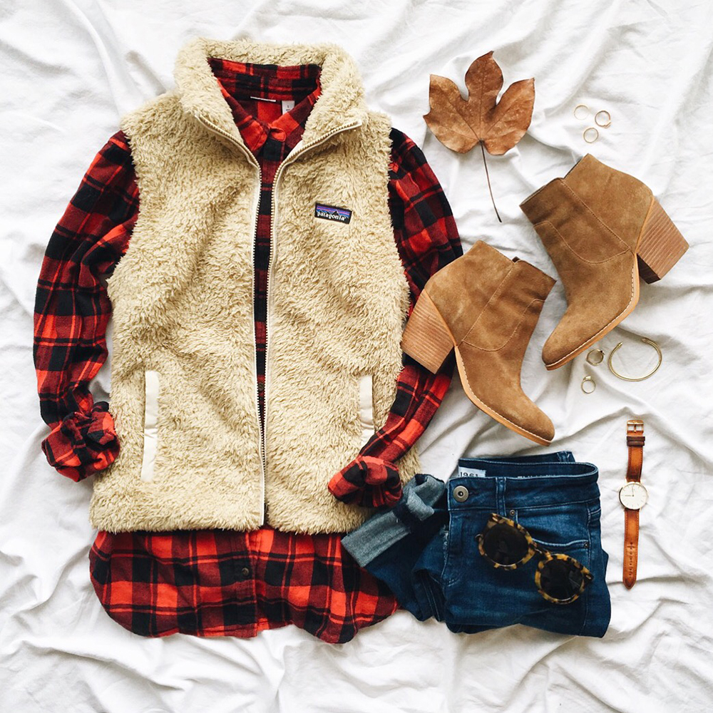 livvyland-blog-olivia-watson-instagram-roundup-december-cozy-buffalo-plaid-button-up-patagonia-never-better-fleece-vest-el-gato