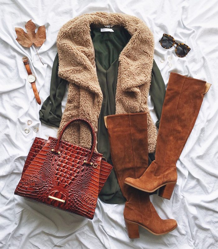 livvyland-blog-olivia-watson-instagram-roundup-december-cozy-faux-fur-vest-otk-boots-dress-fall-outfit