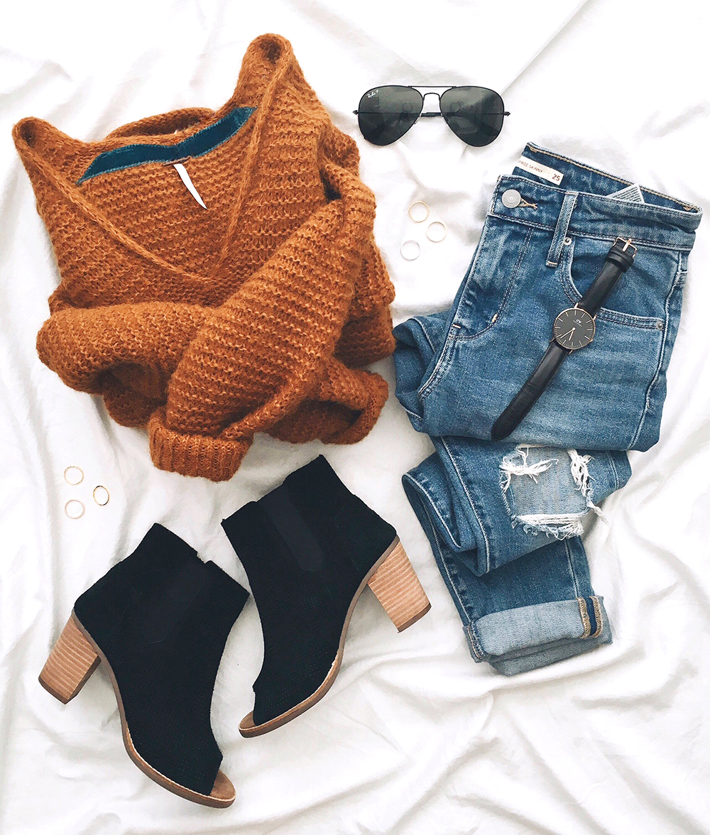 livvyland-blog-olivia-watson-instagram-roundup-december-cozy-mustard-sweater-distressed-jeans-chic-peep-toe-booties-flat-lay