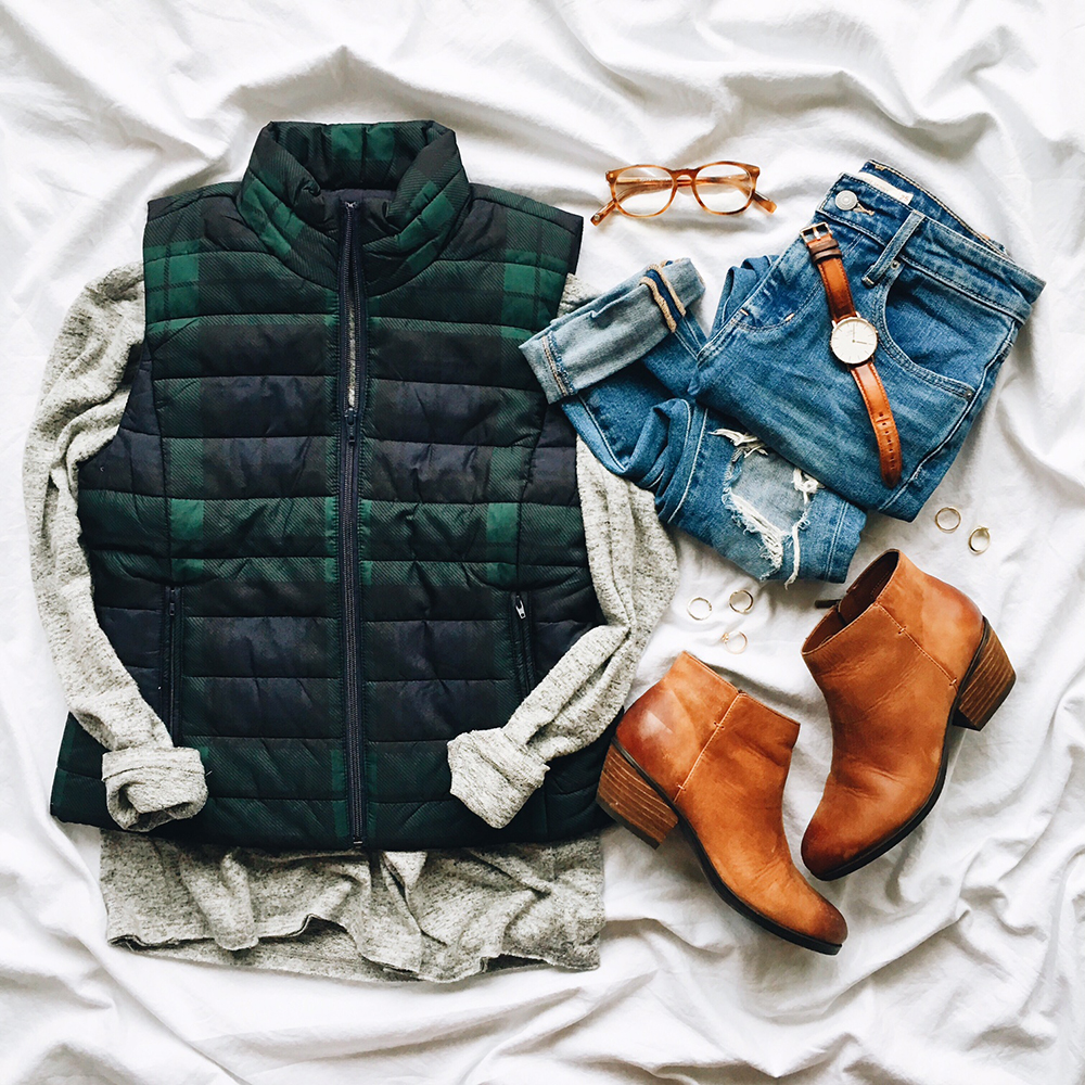 livvyland-blog-olivia-watson-instagram-roundup-december-cozy-plaid-puffer-vest-loft-brown-ankle-booties-outfit-fall-winter