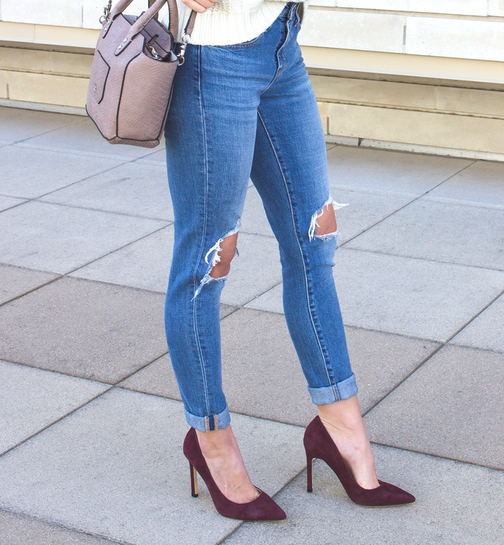 livvyland-blog-olivia-watson-white-cable-knit-sweater-burgundy-suede-pumps-carra-4
