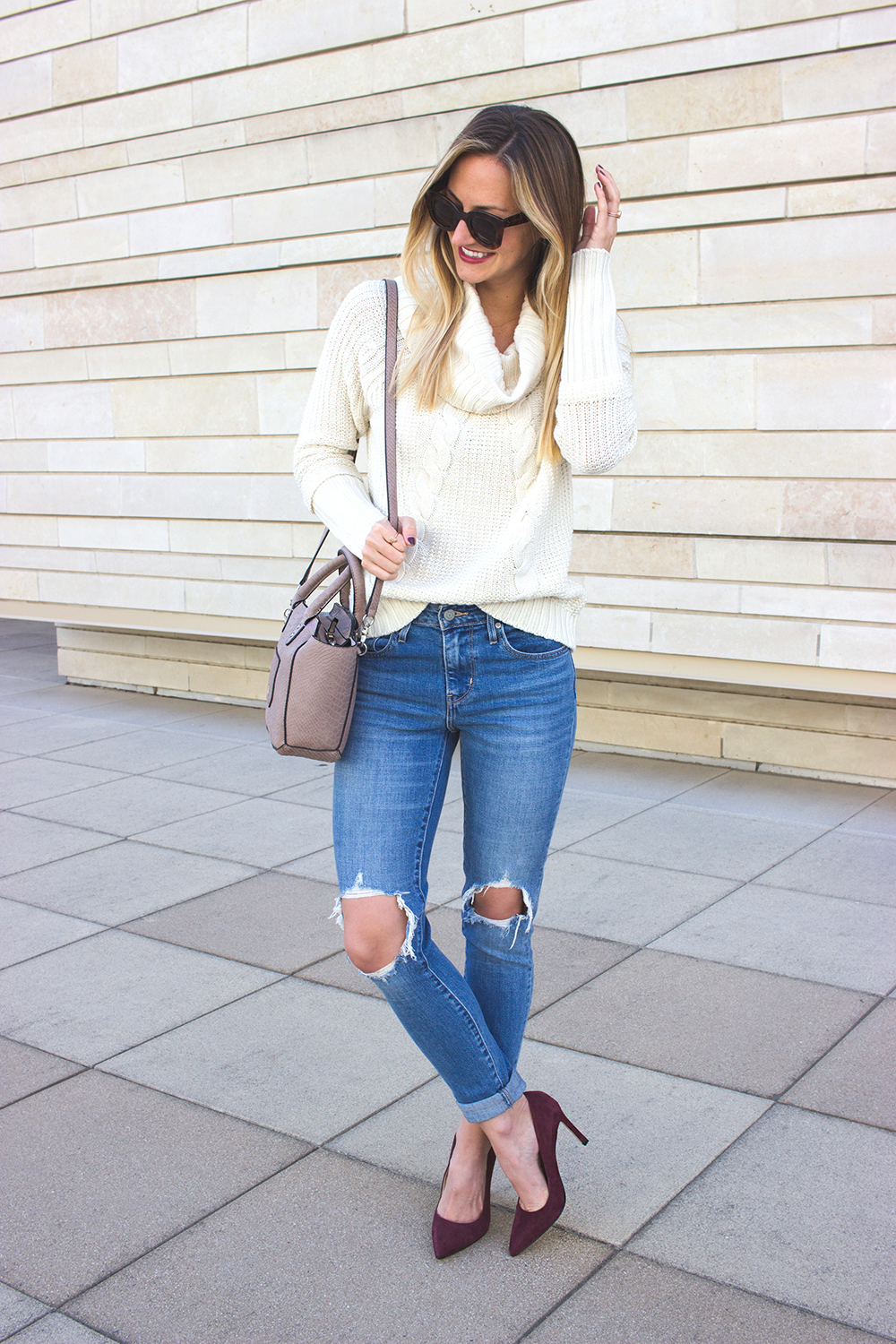livvyland-blog-olivia-watson-white-cable-knit-sweater-burgundy-suede-pumps-carra-8