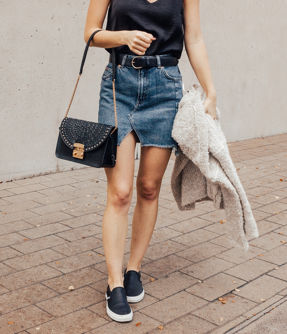 livvyland-blog-olivia-watson-denim-skirt-silk-cami-furla-black-handbag-vans-slip-on-sneakers-1