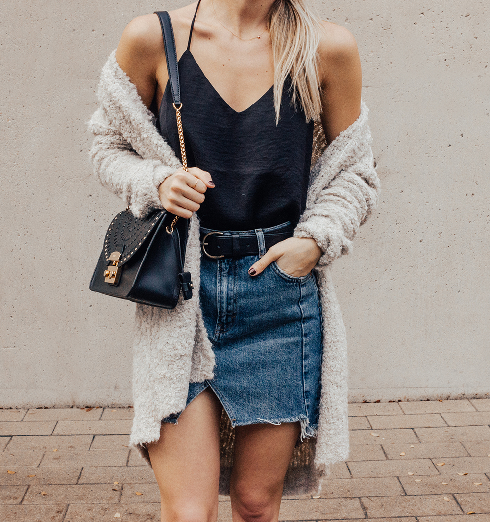 livvyland-blog-olivia-watson-denim-skirt-silk-cami-furla-black-handbag-vans-slip-on-sneakers-4