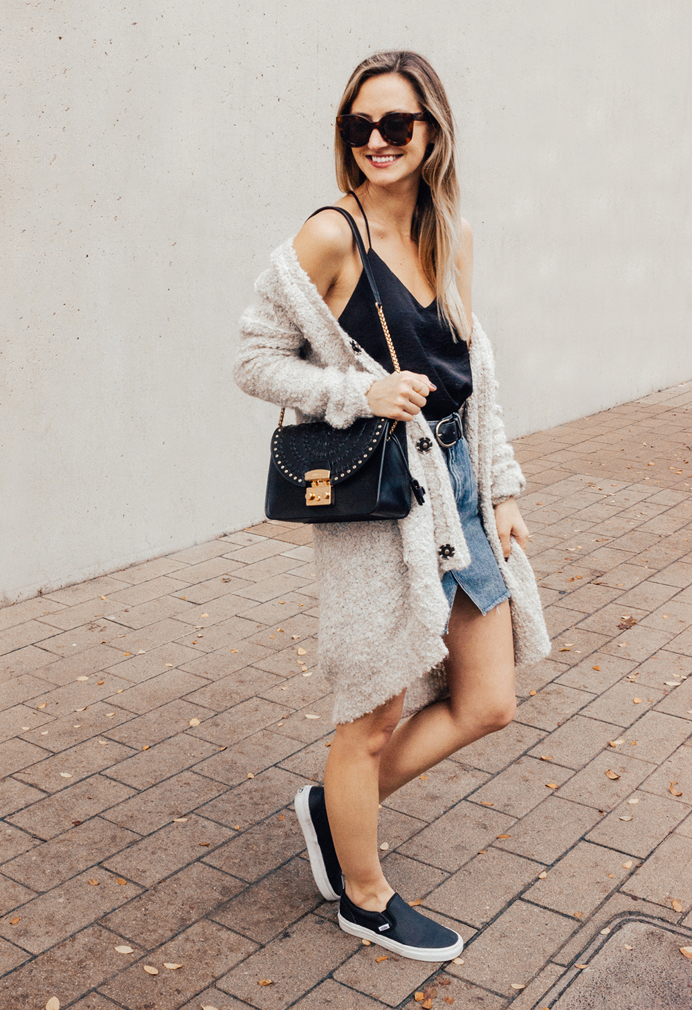 livvyland-blog-olivia-watson-denim-skirt-silk-cami-furla-black-handbag-vans-slip-on-sneakers-5