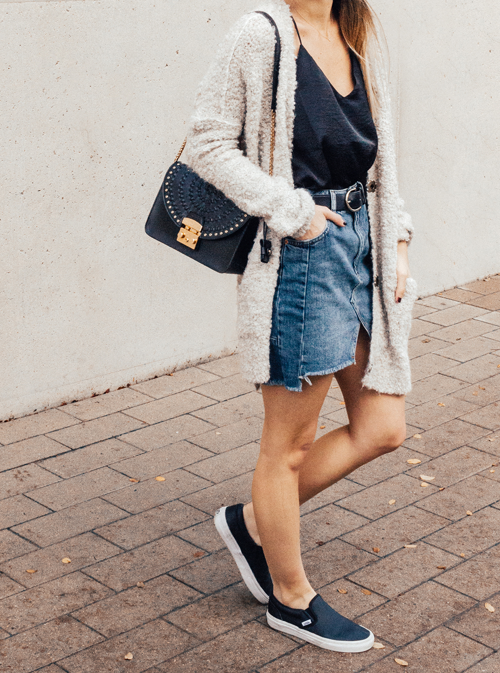 livvyland-blog-olivia-watson-denim-skirt-silk-cami-furla-black-handbag-vans-slip-on-sneakers-6