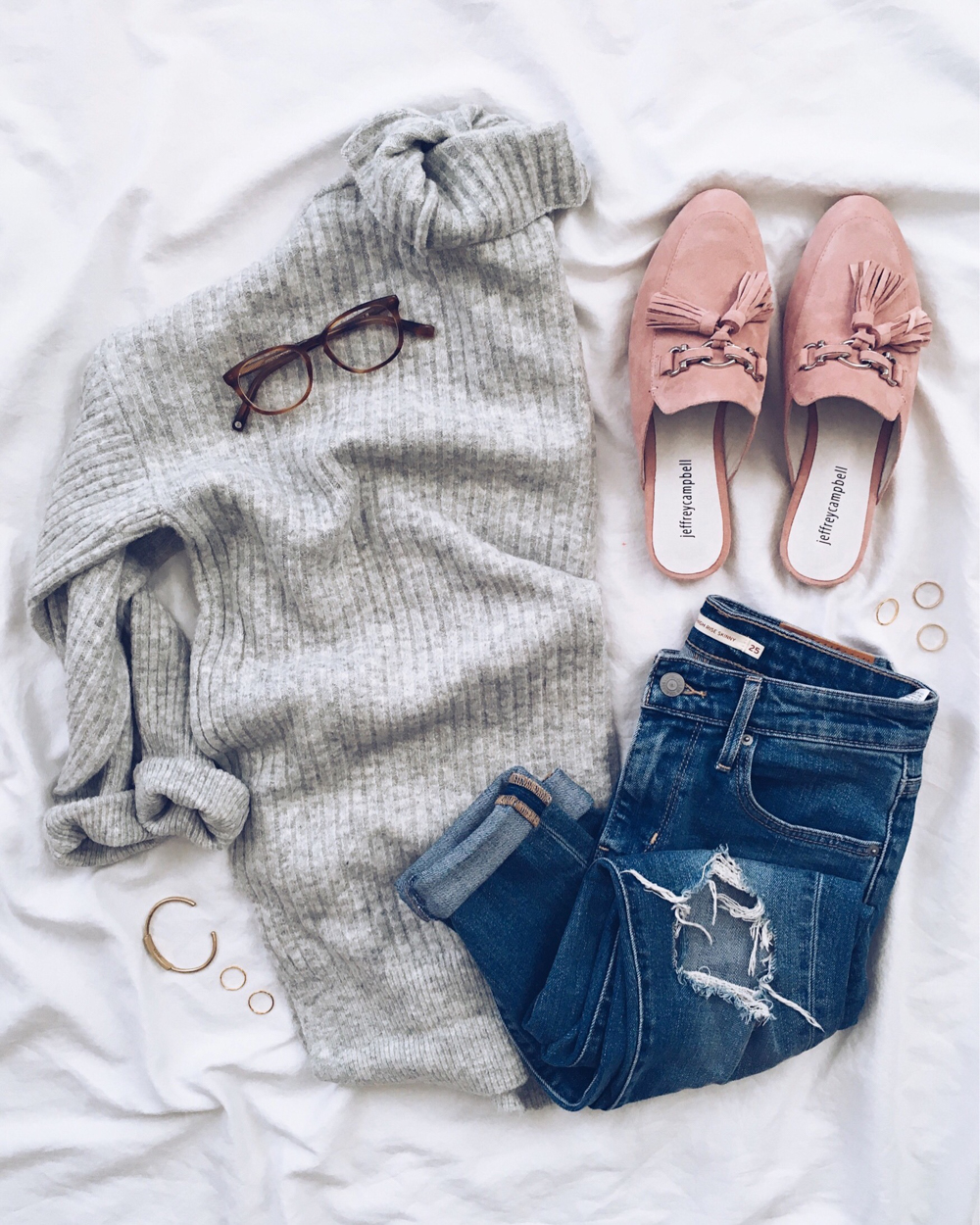 livvyland-blog-olivia-watson-instagram-roundup-grey-sweater-pink-tassel-loafer-slides-jeffrey-campbell