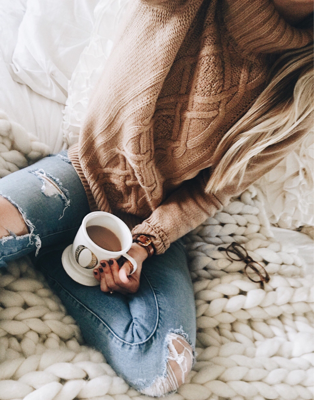 livvyland-blog-olivia-watson-instagram-roundup-jcrew-camel-cable-knit-sweater-cozy-coffee-in-bed