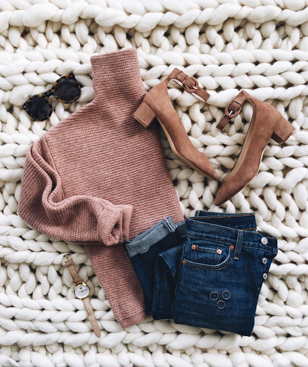 livvyland-blog-olivia-watson-instagram-roundup-madewell-blush-funnel-turtle-neck-sweater-ankle-strap-kitten-heels