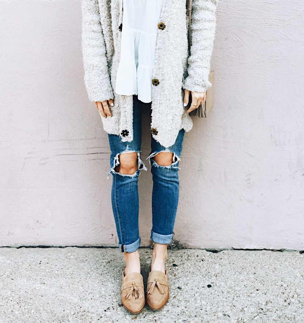 livvyland-blog-olivia-watson-instagram-roundup-sand-suede-tassel-slides-mules-loafers-cozy-chic-outfit
