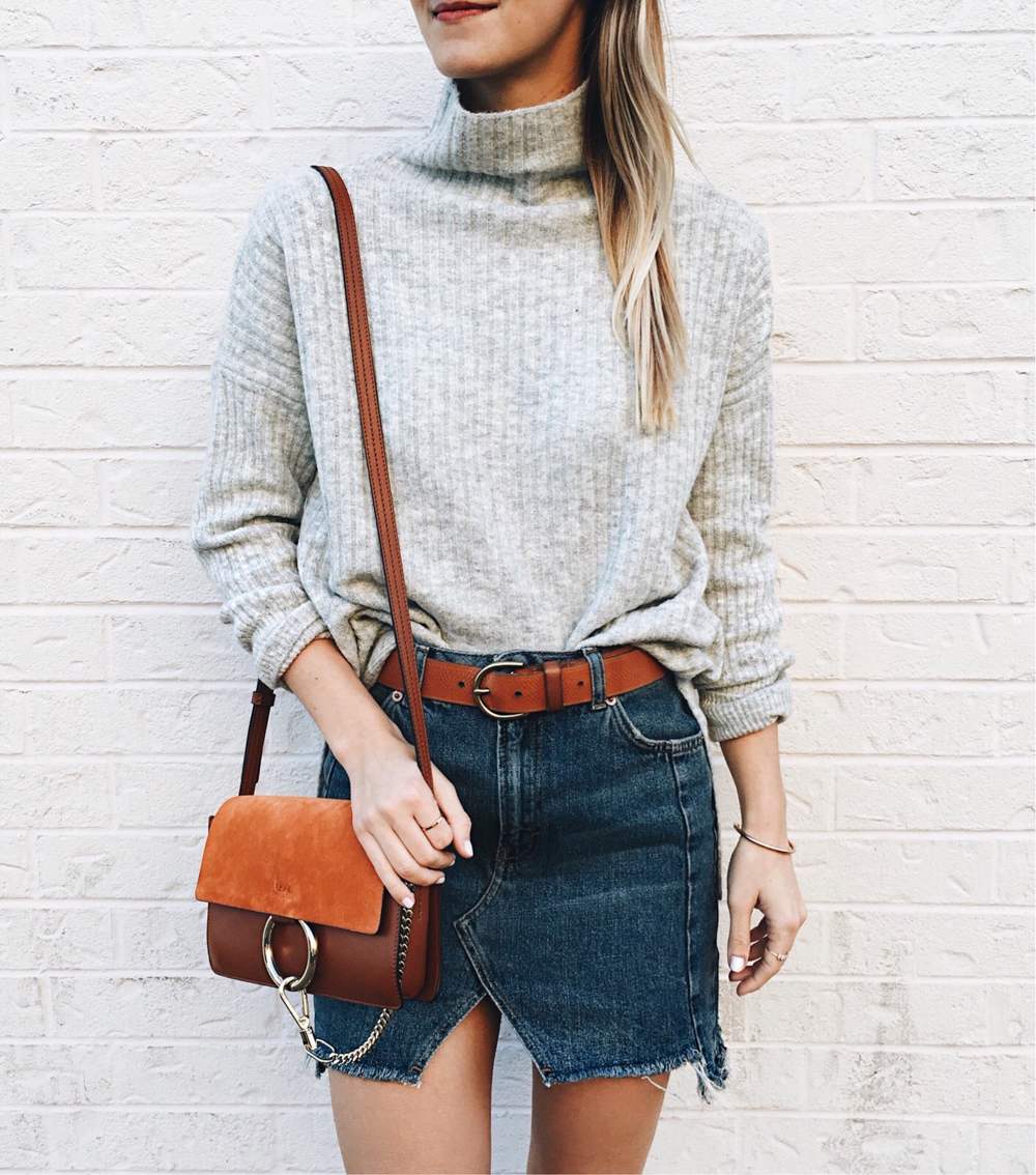livvyland-blog-olivia-watson-topshop-front-slit-denim-mini-skirt-chloe-faye-small-brown-grey-mock-neck-sweater-classic-chic-outfit
