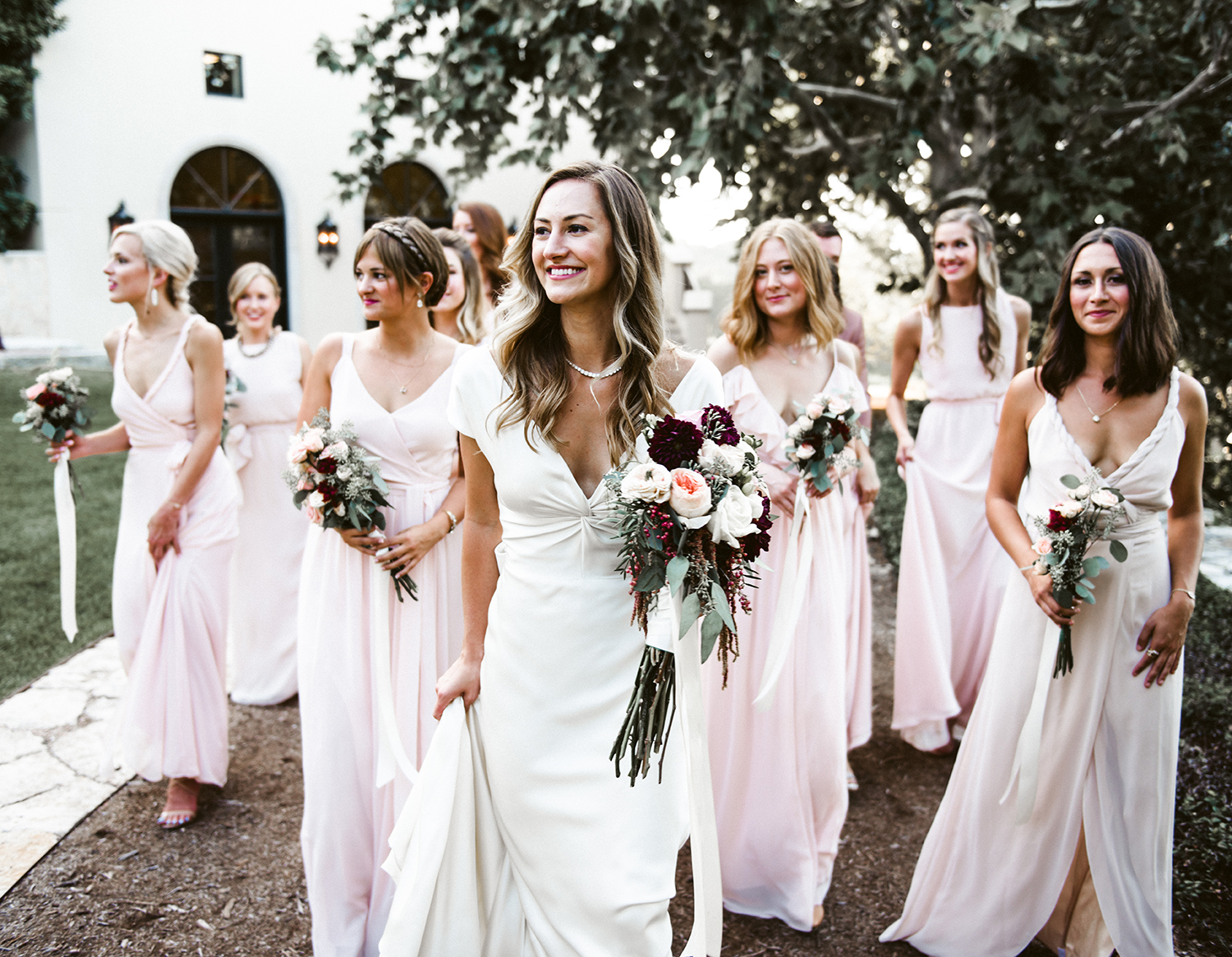 livvyland-blog-olivia-watson-wedding-villa-del-lago-austin-texas-fall-blush-burgundy-classic-romantic-joanna-august-mismatched-bridesmaid-dresses-2